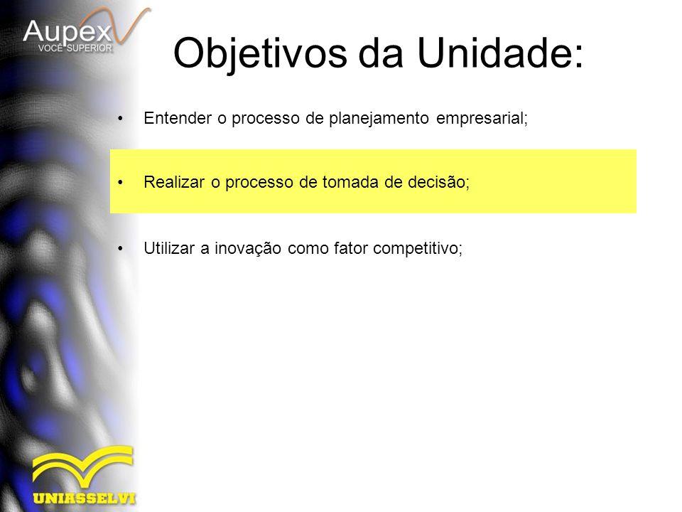 Objetivos da Unidade: Entender o processo de planejamento empresarial; Realizar o processo de tomada de decisão; Utilizar a inovação como fator compet