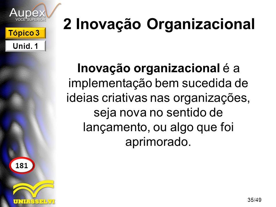 2 Inovação Organizacional Inovação organizacional é a implementação bem sucedida de ideias criativas nas organizações, seja nova no sentido de lançame