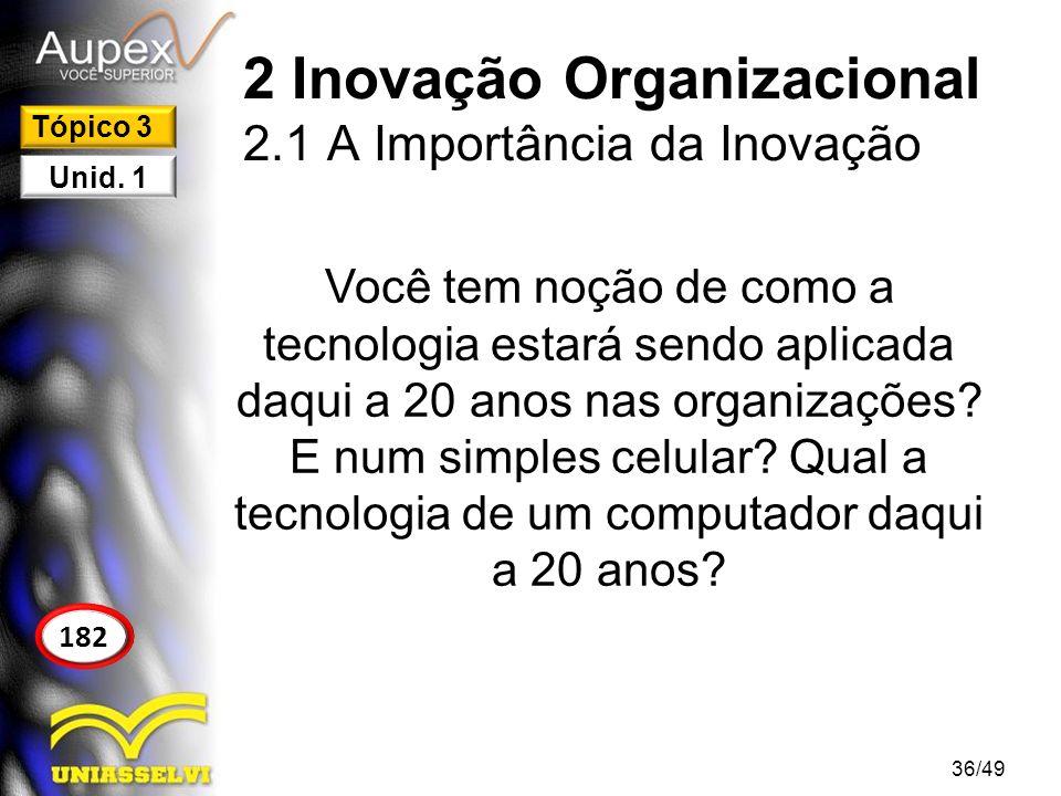 2 Inovação Organizacional 2.1 A Importância da Inovação Você tem noção de como a tecnologia estará sendo aplicada daqui a 20 anos nas organizações? E