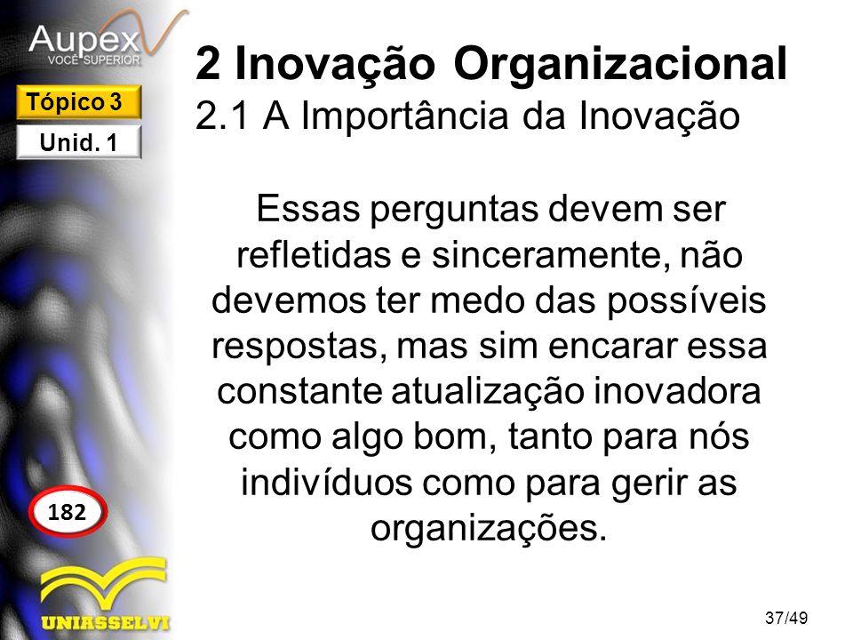 2 Inovação Organizacional 2.1 A Importância da Inovação Essas perguntas devem ser refletidas e sinceramente, não devemos ter medo das possíveis respos