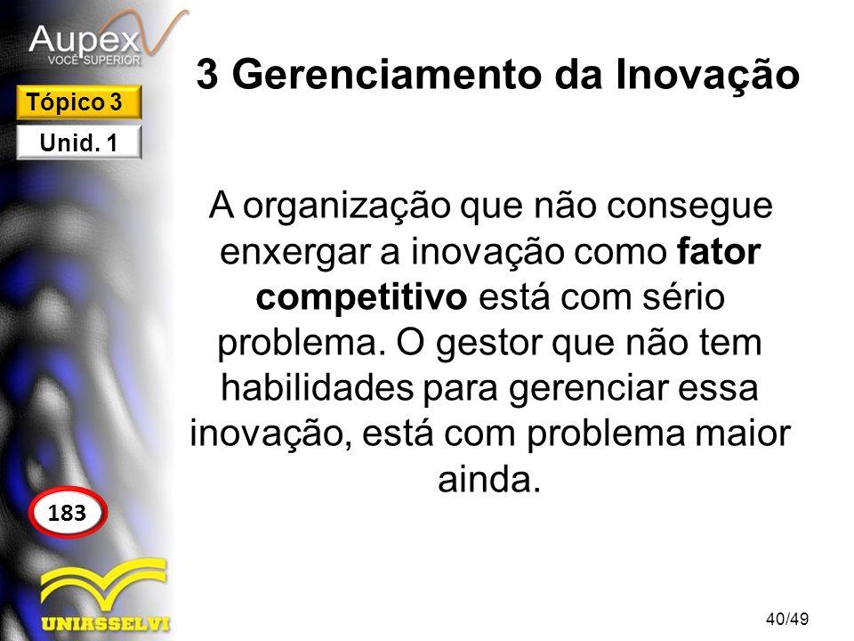 3 Gerenciamento da Inovação A organização que não consegue enxergar a inovação como fator competitivo está com sério problema. O gestor que não tem ha