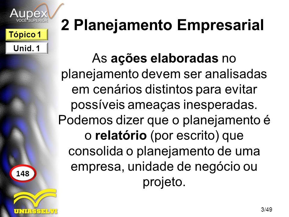 2 Planejamento Empresarial As ações elaboradas no planejamento devem ser analisadas em cenários distintos para evitar possíveis ameaças inesperadas. P