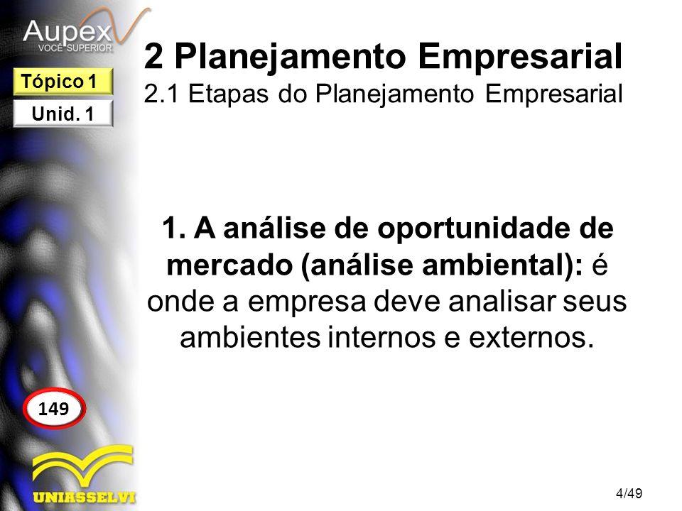 2 Planejamento Empresarial 2.1 Etapas do Planejamento Empresarial 1. A análise de oportunidade de mercado (análise ambiental): é onde a empresa deve a