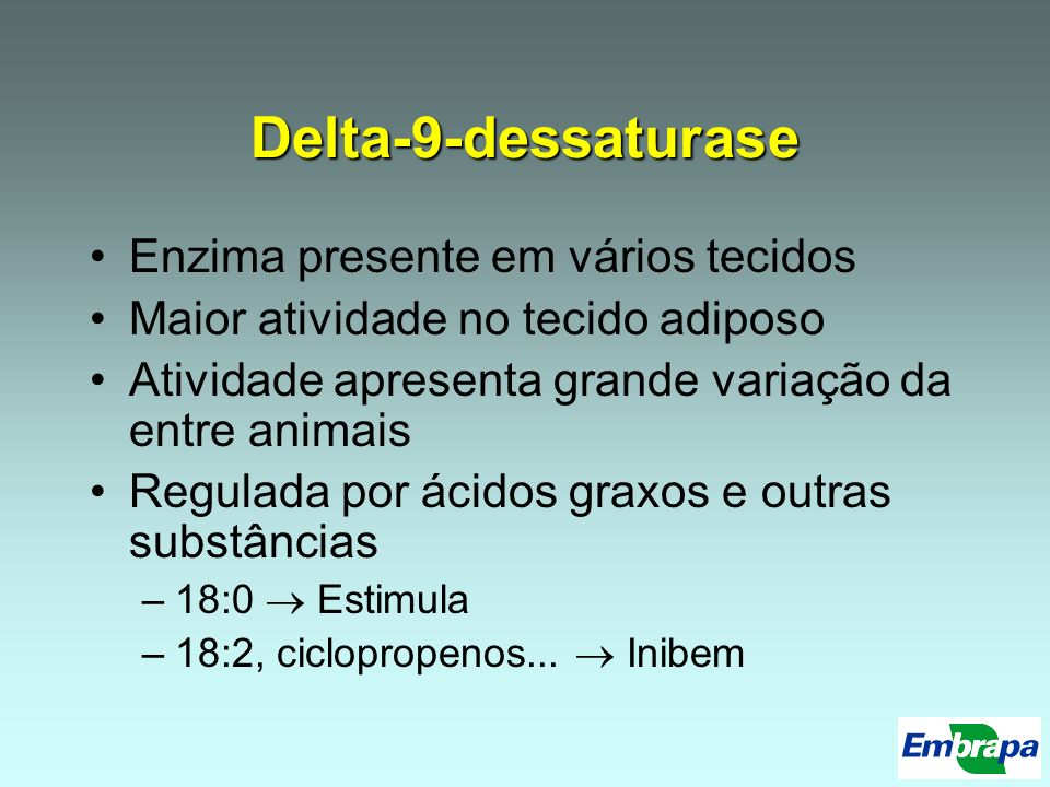 Delta-9-dessaturase Enzima presente em vários tecidos Maior atividade no tecido adiposo Atividade apresenta grande variação da entre animais Regulada