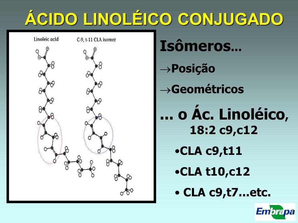 ÁCIDO LINOLÉICO CONJUGADO Isômeros... Posição Geométricos... o Ác. Linoléico, 18:2 c9,c12 CLA c9,t11 CLA t10,c12 CLA c9,t7...etc.
