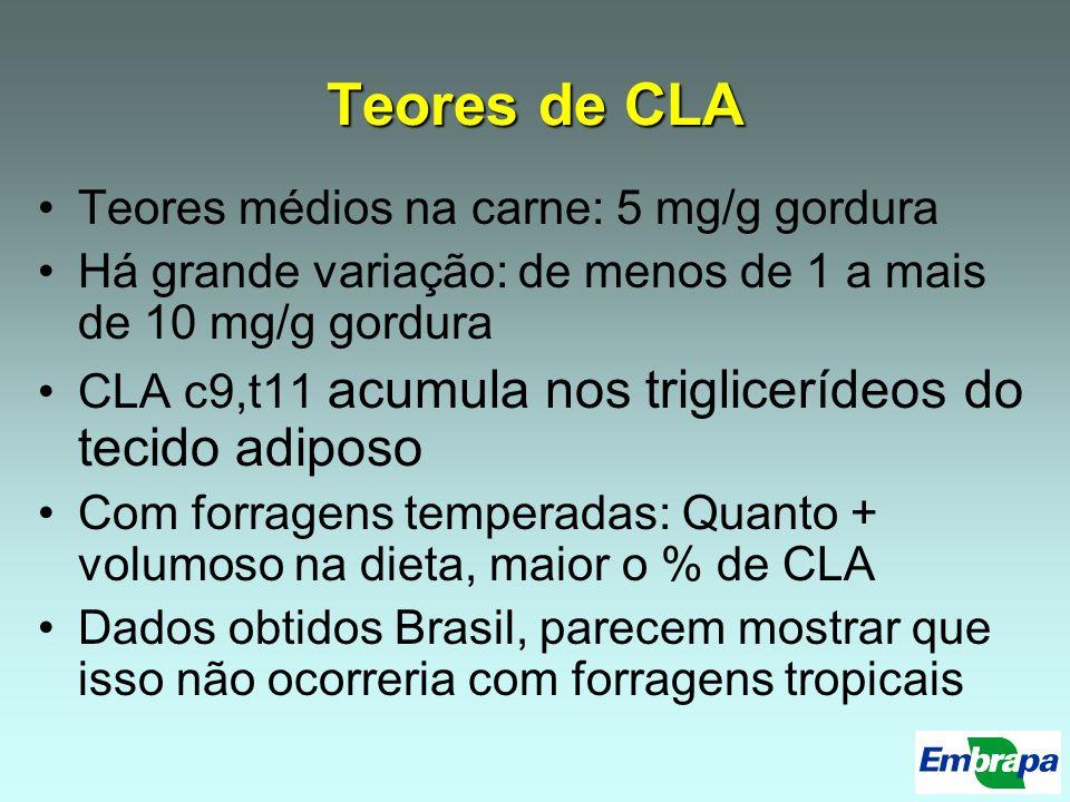 Teores de CLA Teores médios na carne: 5 mg/g gordura Há grande variação: de menos de 1 a mais de 10 mg/g gordura CLA c9,t11 acumula nos triglicerídeos