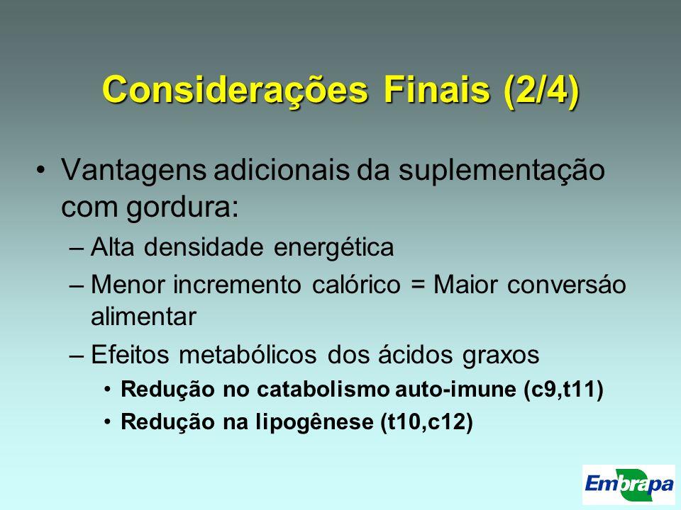 Considerações Finais (2/4) Vantagens adicionais da suplementação com gordura: –Alta densidade energética –Menor incremento calórico = Maior conversáo