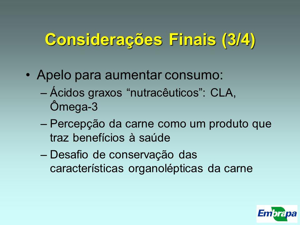 Considerações Finais (3/4) Apelo para aumentar consumo: –Ácidos graxos nutracêuticos: CLA, Ômega-3 –Percepção da carne como um produto que traz benefí