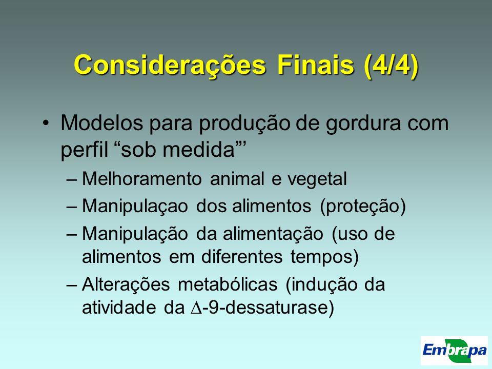 Considerações Finais (4/4) Modelos para produção de gordura com perfil sob medida –Melhoramento animal e vegetal –Manipulaçao dos alimentos (proteção)
