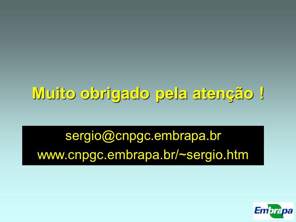 Muito obrigado pela atenção ! sergio@cnpgc.embrapa.br www.cnpgc.embrapa.br/~sergio.htm