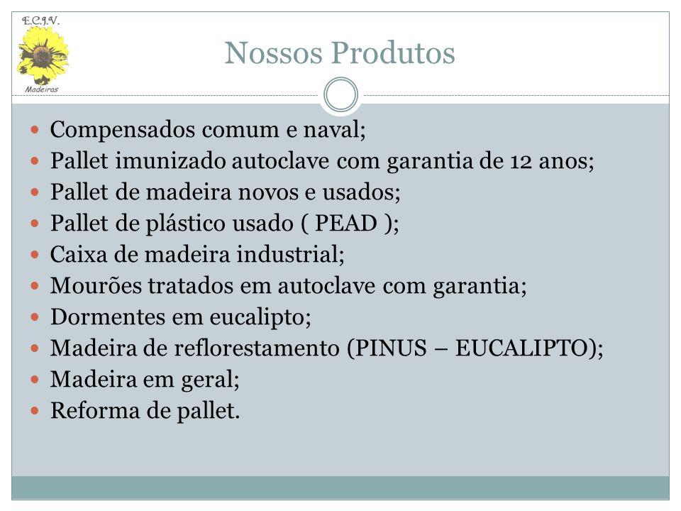 Pallets Nossos produtos Pallets novos Pallets usados Reforma de pallets Medidas de acordo com a solicitação do cliente