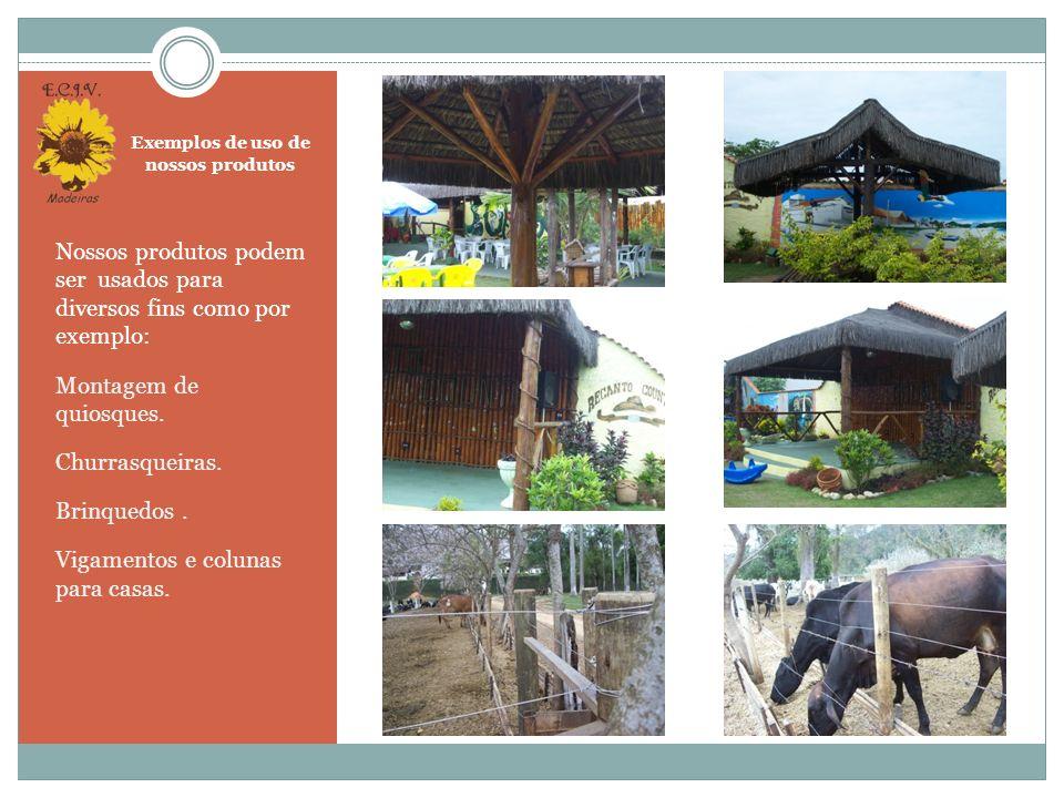 Exemplos de uso de nossos produtos Casa fabricada com toras de eucalipto tratado em auto clave