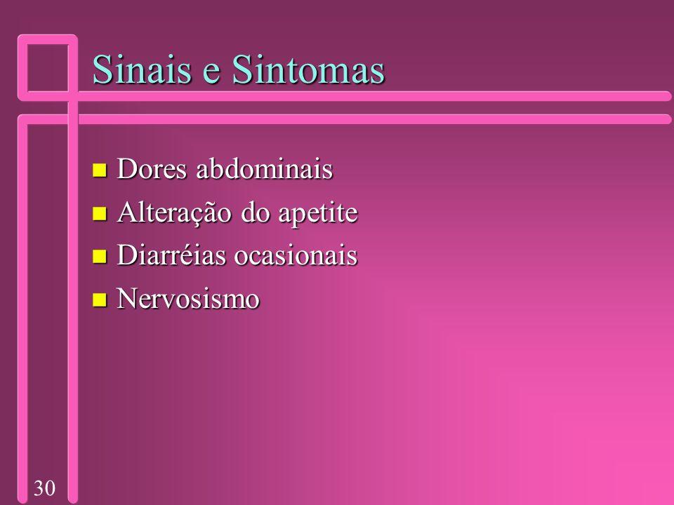30 Sinais e Sintomas n Dores abdominais n Alteração do apetite n Diarréias ocasionais n Nervosismo