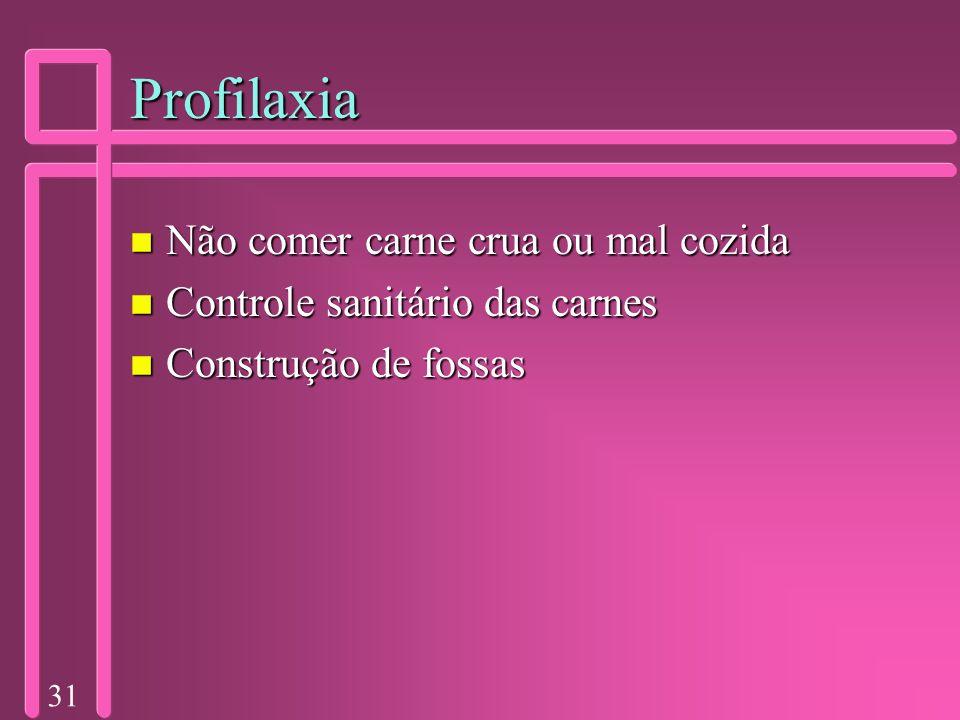 31 Profilaxia n Não comer carne crua ou mal cozida n Controle sanitário das carnes n Construção de fossas