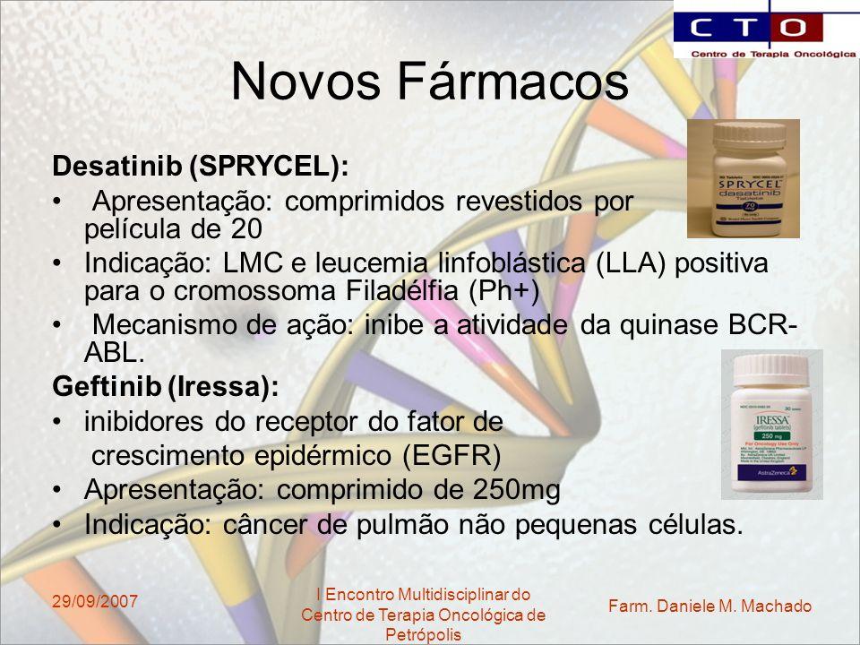 Farm. Daniele M. Machado I Encontro Multidisciplinar do Centro de Terapia Oncológica de Petrópolis 29/09/2007 Novos Fármacos Desatinib (SPRYCEL): Apre