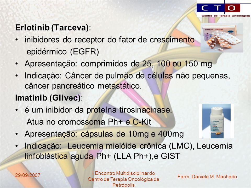 Farm. Daniele M. Machado I Encontro Multidisciplinar do Centro de Terapia Oncológica de Petrópolis 29/09/2007 Erlotinib (Tarceva): inibidores do recep