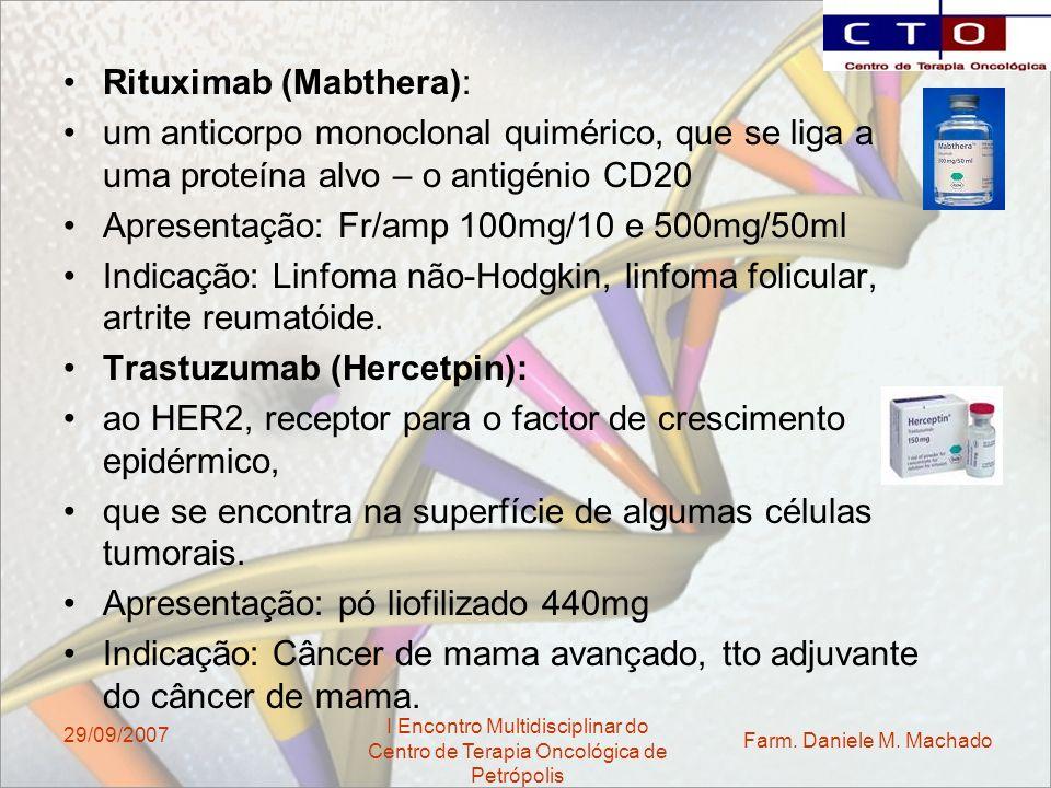 Farm. Daniele M. Machado I Encontro Multidisciplinar do Centro de Terapia Oncológica de Petrópolis 29/09/2007 Rituximab (Mabthera): um anticorpo monoc