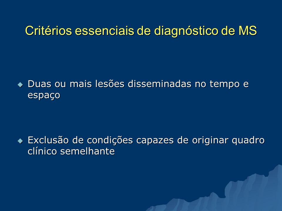 Critérios essenciais de diagnóstico de MS Duas ou mais lesões disseminadas no tempo e espaço Duas ou mais lesões disseminadas no tempo e espaço Exclus
