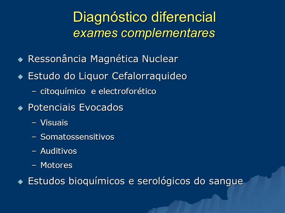 Diagnóstico diferencial exames complementares Ressonância Magnética Nuclear Ressonância Magnética Nuclear Estudo do Liquor Cefalorraquideo Estudo do L