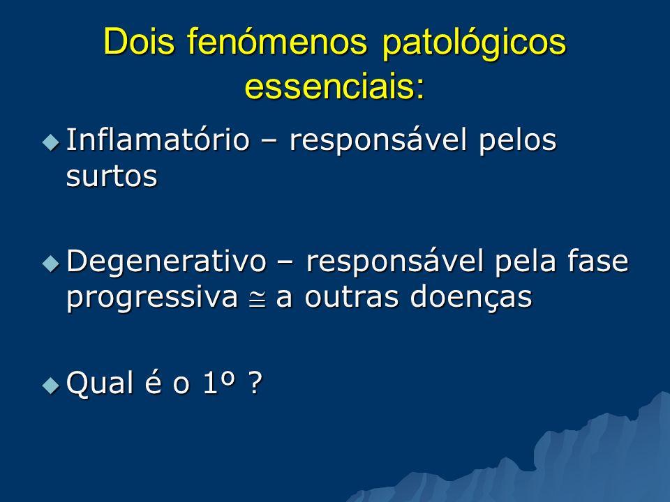 Dois fenómenos patológicos essenciais: Inflamatório – responsável pelos surtos Inflamatório – responsável pelos surtos Degenerativo – responsável pela