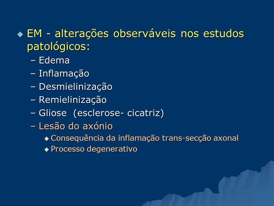 EM - alterações observáveis nos estudos patológicos: EM - alterações observáveis nos estudos patológicos: –Edema –Inflamação –Desmielinização –Remieli