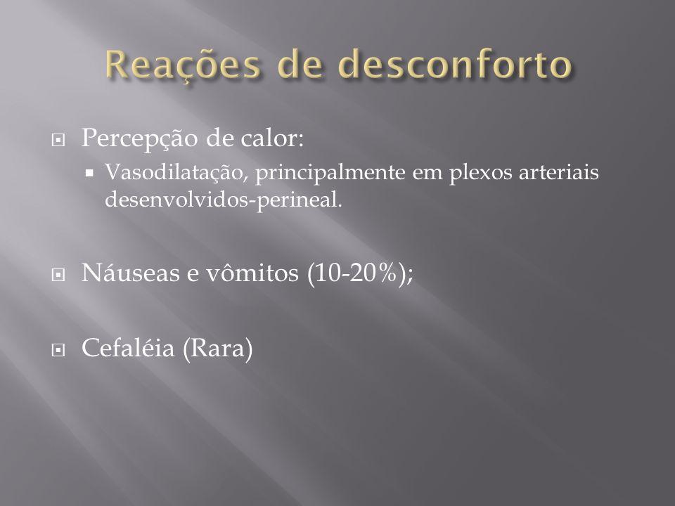 Percepção de calor: Vasodilatação, principalmente em plexos arteriais desenvolvidos-perineal. Náuseas e vômitos (10-20%); Cefaléia (Rara)
