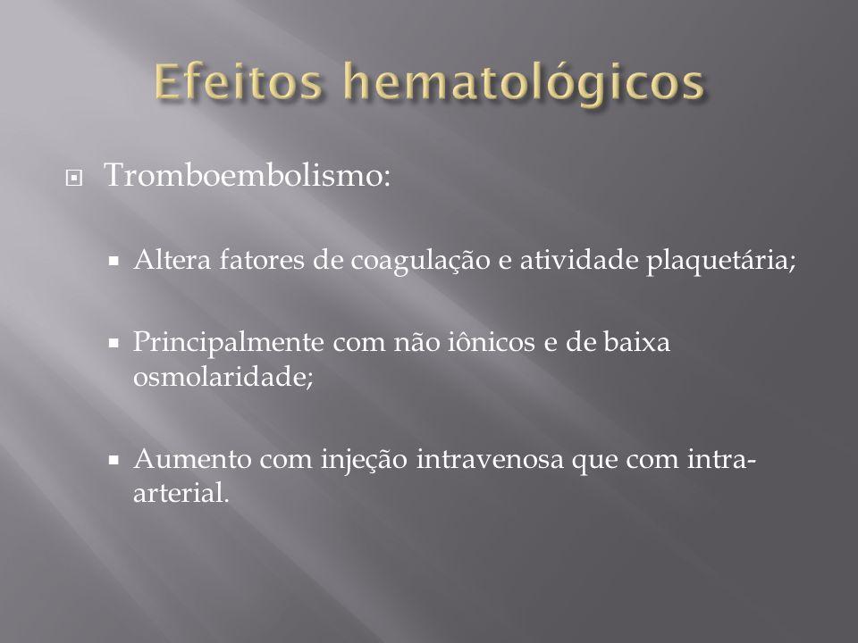 Tromboembolismo: Altera fatores de coagulação e atividade plaquetária; Principalmente com não iônicos e de baixa osmolaridade; Aumento com injeção int