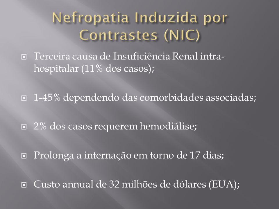 Terceira causa de Insuficiência Renal intra- hospitalar (11% dos casos); 1-45% dependendo das comorbidades associadas; 2% dos casos requerem hemodiáli
