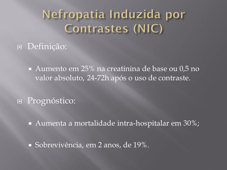 Definição: Aumento em 25% na creatinina de base ou 0,5 no valor absoluto, 24-72h após o uso de contraste. Prognóstico: Aumenta a mortalidade intra-hos