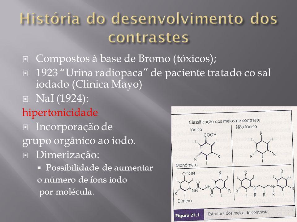 Compostos à base de Bromo (tóxicos); 1923 Urina radiopaca de paciente tratado co sal iodado (Clinica Mayo) NaI (1924): hipertonicidade Incorporação de