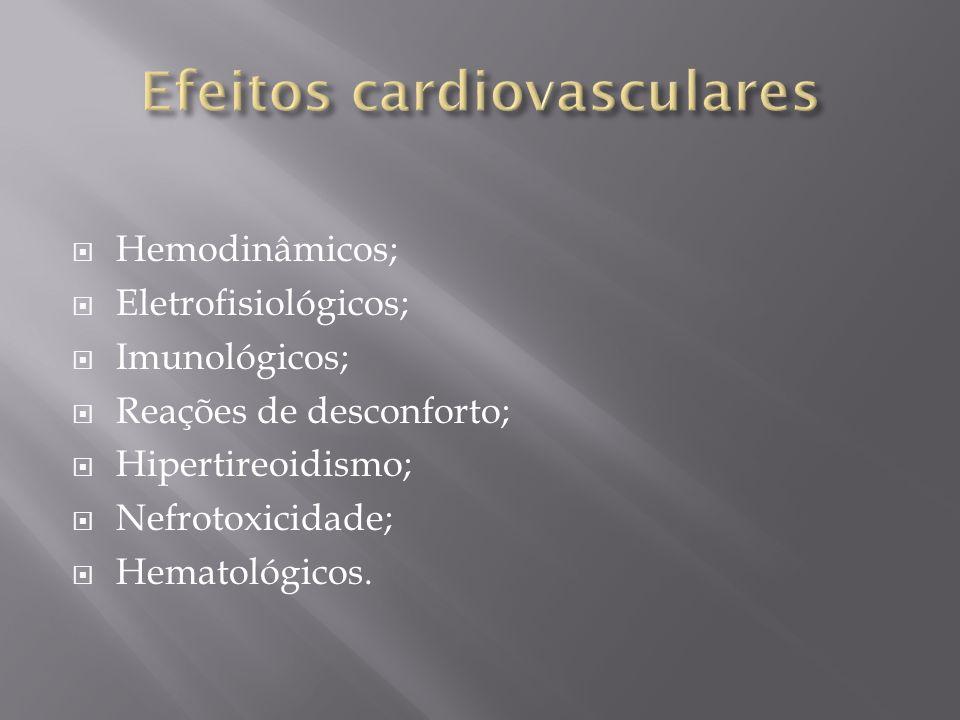 Todos causam vasodilatação: Diminuição da resistência vascular sistêmica; Injeção arterial mais que venosa; Aumenta o volume intravascular: Principalmente os de alta osmolaridade Depressão miocárdica: Multifatorial (osmolaridade, propriedades quelantes de cálcio, isquemia transitória).
