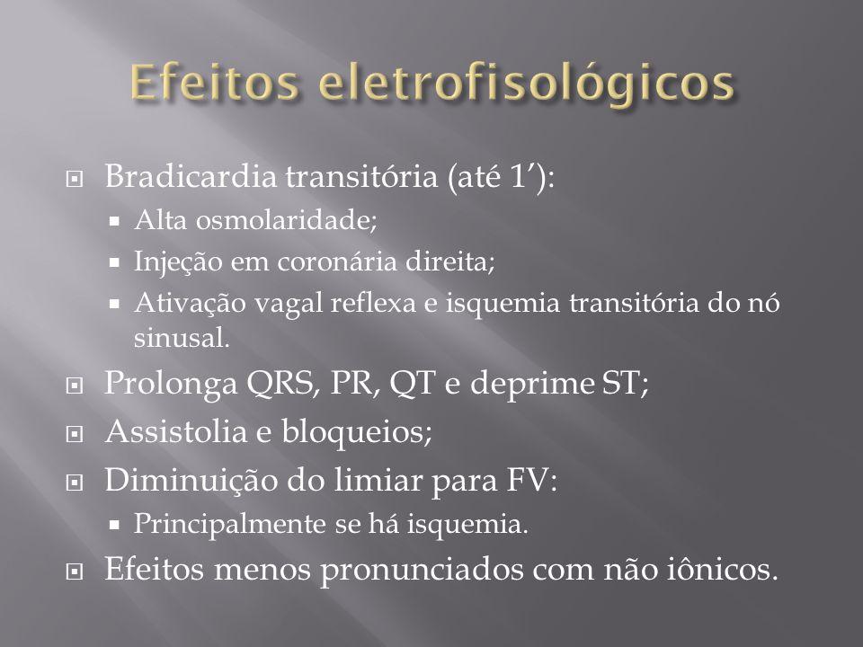 Bradicardia transitória (até 1): Alta osmolaridade; Injeção em coronária direita; Ativação vagal reflexa e isquemia transitória do nó sinusal. Prolong