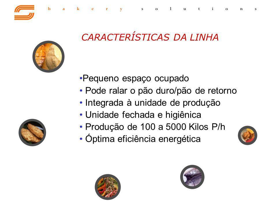 Pequeno espaço ocupado Pode ralar o pão duro/pão de retorno Integrada à unidade de produção Unidade fechada e higiênica Produção de 100 a 5000 Kilos P