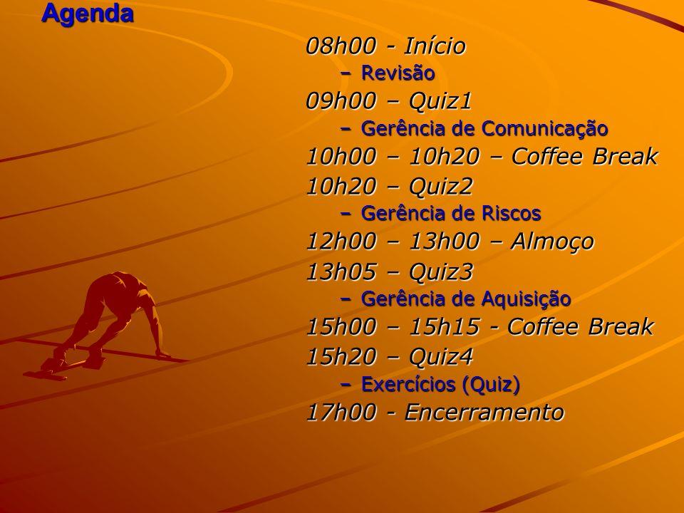 Agenda 08h00 - Início –Revisão 09h00 – Quiz1 –Gerência de Comunicação 10h00 – 10h20 – Coffee Break 10h20 – Quiz2 –Gerência de Riscos 12h00 – 13h00 – A