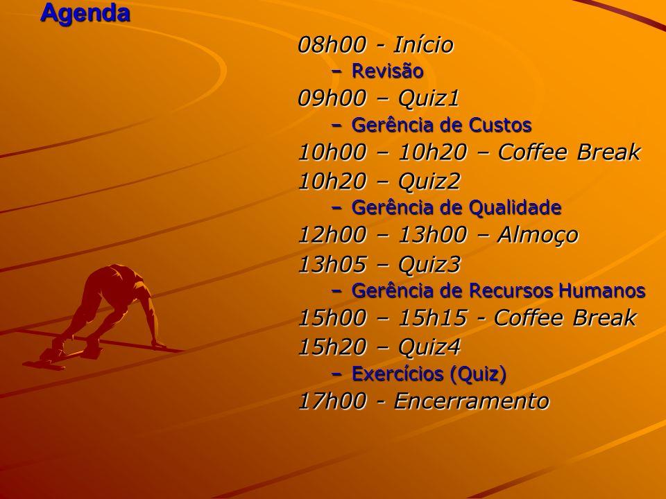 Agenda 08h00 - Início –Revisão 09h00 – Quiz1 –Gerência de Custos 10h00 – 10h20 – Coffee Break 10h20 – Quiz2 –Gerência de Qualidade 12h00 – 13h00 – Almoço 13h05 – Quiz3 –Gerência de Recursos Humanos 15h00 – 15h15 - Coffee Break 15h20 – Quiz4 –Exercícios (Quiz) 17h00 - Encerramento