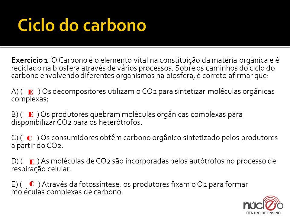 Exercício 1: O Carbono é o elemento vital na constituição da matéria orgânica e é reciclado na biosfera através de vários processos. Sobre os caminhos