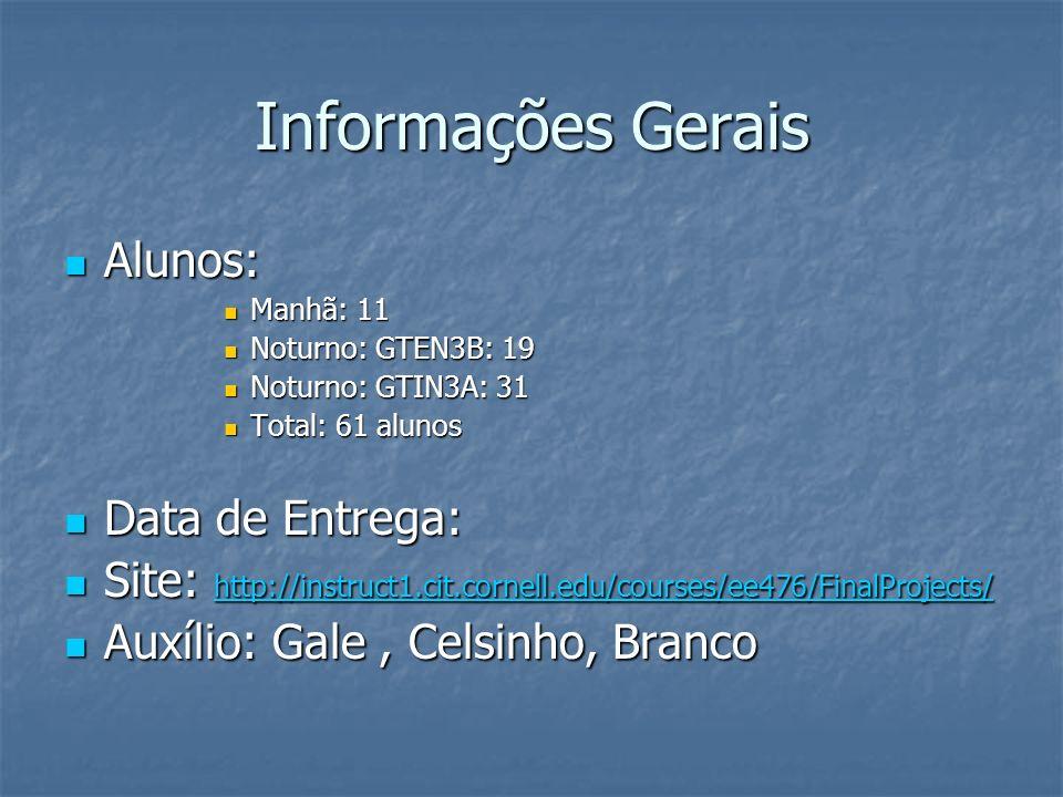 Informações Gerais Alunos: Alunos: Manhã: 11 Manhã: 11 Noturno: GTEN3B: 19 Noturno: GTEN3B: 19 Noturno: GTIN3A: 31 Noturno: GTIN3A: 31 Total: 61 alunos Total: 61 alunos Data de Entrega: Data de Entrega: Site: http://instruct1.cit.cornell.edu/courses/ee476/FinalProjects/ Site: http://instruct1.cit.cornell.edu/courses/ee476/FinalProjects/ http://instruct1.cit.cornell.edu/courses/ee476/FinalProjects/ Auxílio: Gale, Celsinho, Branco Auxílio: Gale, Celsinho, Branco