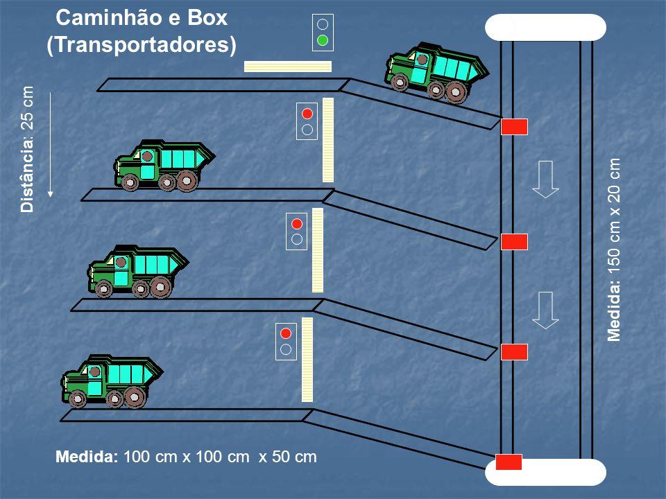 Medida: 150 cm x 20 cm Distância: 25 cm Medida: 100 cm x 100 cm x 50 cm Caminhão e Box (Transportadores)