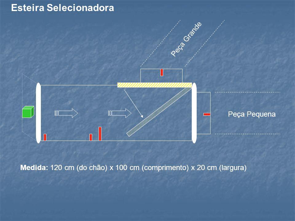 Peça Grande Peça Pequena Medida: 120 cm (do chão) x 100 cm (comprimento) x 20 cm (largura) Esteira Selecionadora