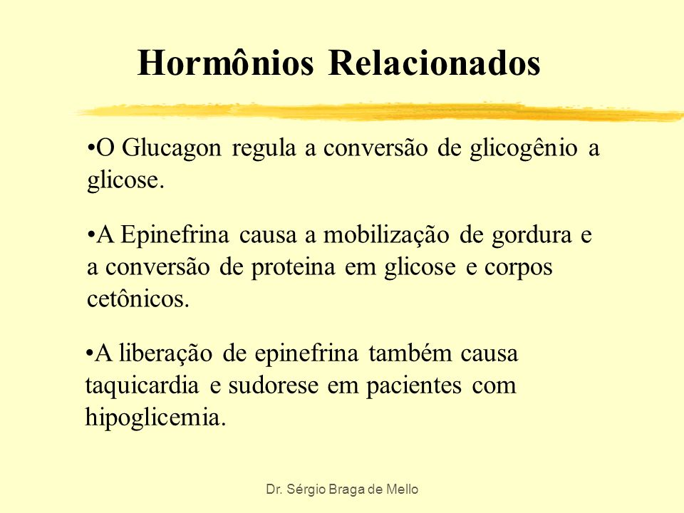 Dr. Sérgio Braga de Mello Outros Hormônios A glicose extra é também convertida em gordura. Quando a glicose no sangue está baixa, os hormônios contrab