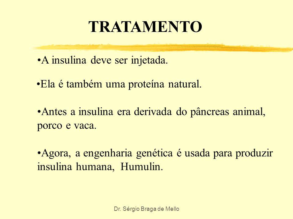 Dr. Sérgio Braga de Mello Tratamento O Diabetes é tratado com insulina ou hipoglicemiantes orais. Hipoglicemiantes orais são drogas que estimulam a li