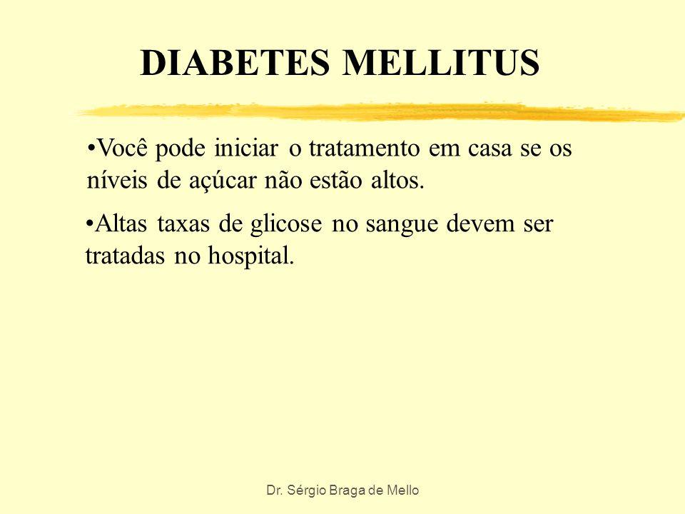 Dr. Sérgio Braga de Mello DIABETES MELLITUS A glicose aumenta devido a insulina ser inefetiva ou insuficiente O paciente apresenta níveis elevados de