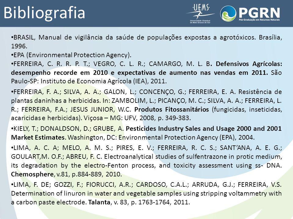 Bibliografia BRASIL, Manual de vigilância da saúde de populações expostas a agrotóxicos. Brasília, 1996. EPA (Environmental Protection Agency). FERREI