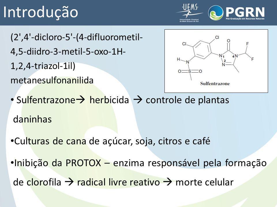Introdução Brasil: 1º no ranking de consumo de pesticidas Região Centro Oeste - MS aumento da cultura de cana de açúcar 4ª posição em produção (6,37%) e área cultivada (542,7 mil ha) 8º lugar no ranking de consumo de pesticidas