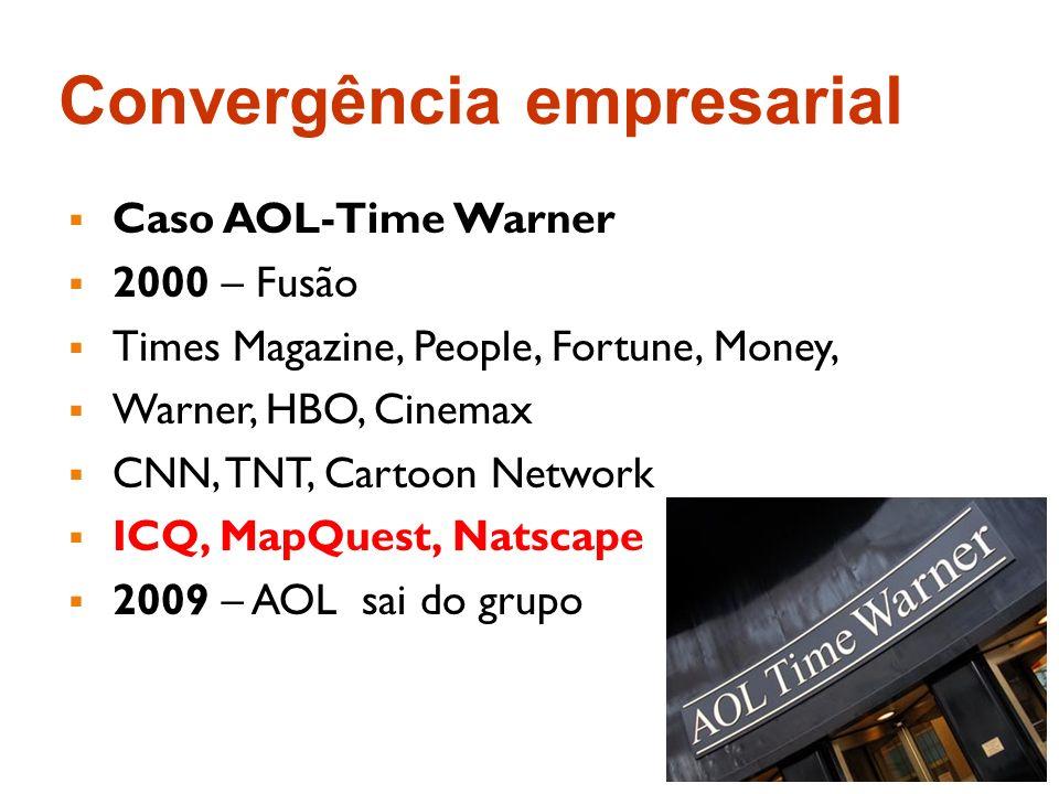 Convergência empresarial Caso AOL-Time Warner 2000 – Fusão Times Magazine, People, Fortune, Money, Warner, HBO, Cinemax CNN, TNT, Cartoon Network ICQ,