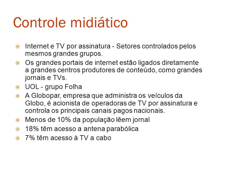 Internet e TV por assinatura - Setores controlados pelos mesmos grandes grupos. Os grandes portais de internet estão ligados diretamente a grandes cen