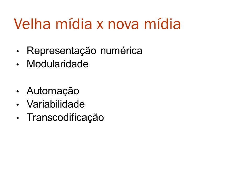 Velha mídia x nova mídia Representação numérica Modularidade Automação Variabilidade Transcodificação