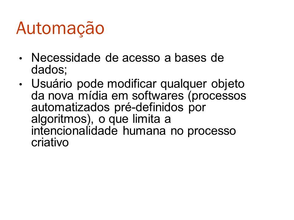 Automação Necessidade de acesso a bases de dados; Usuário pode modificar qualquer objeto da nova mídia em softwares (processos automatizados pré-defin