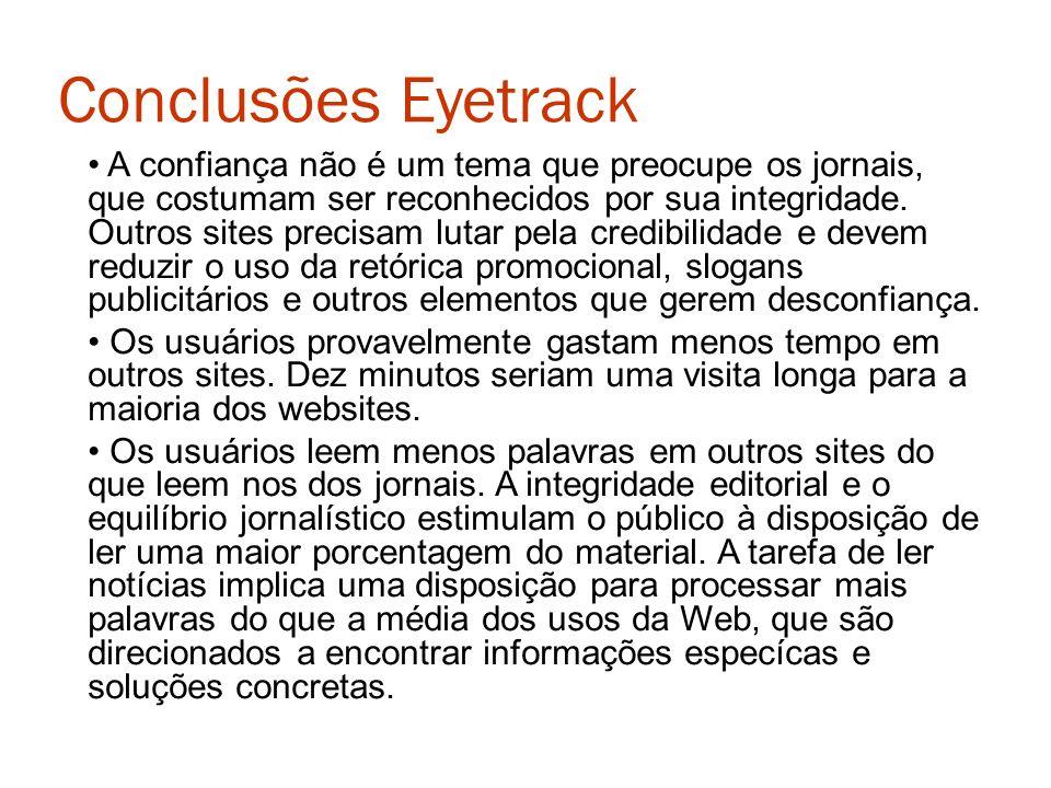 Conclusões Eyetrack A confiança não é um tema que preocupe os jornais, que costumam ser reconhecidos por sua integridade. Outros sites precisam lutar