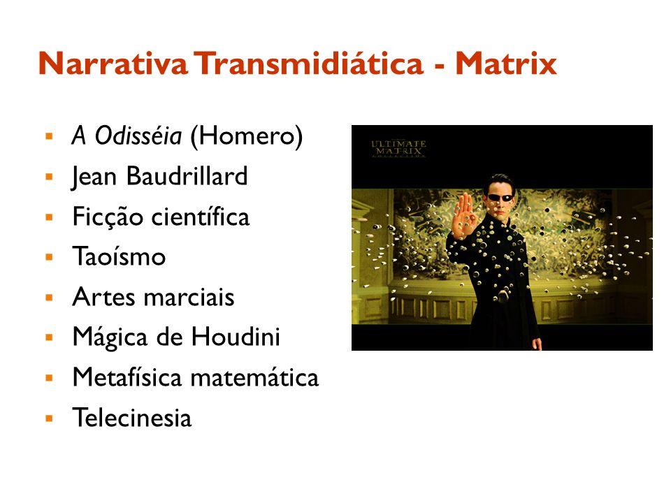 Narrativa Transmidiática - Matrix A Odisséia (Homero) Jean Baudrillard Ficção científica Taoísmo Artes marciais Mágica de Houdini Metafísica matemátic